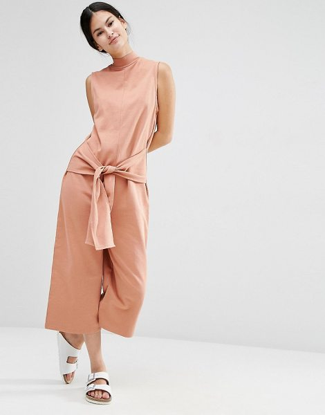 """Asos Sweat Jumpsuit with Tie Front in pink - """"""""Jumpsuit by ASOS Collection, Soft-touch knitted..."""