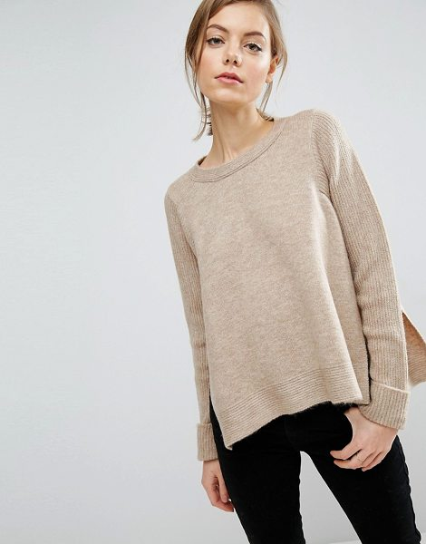 ASOS Sweater in stone - Sweater by ASOS Collection, Textured knit, Crew neck,...