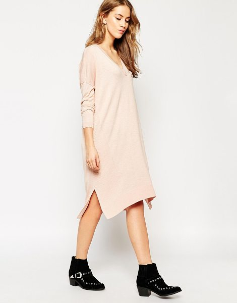 Asos Sweater dress in fine knit and side split with silk blend in pink - Knit dress by ASOS Collection, Lightweight, silk-mix...