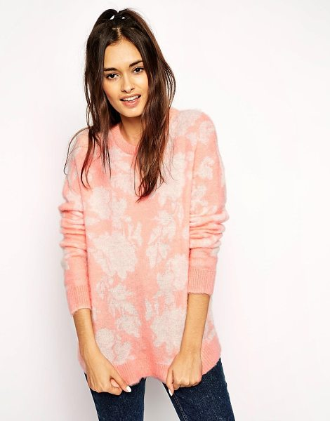 Asos Sweater in brushed floral mohair in nude - Sweater by ASOS Collection Soft touch, brushed wool...