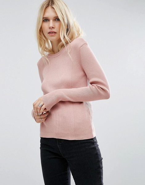 Asos Sweater In Rib With Crew Neck in pink - Sweater by ASOS Collection, Ribbed knit, Crew neckline,...