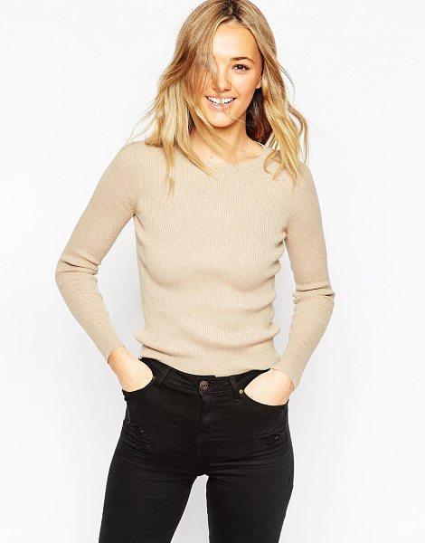Asos Sweater in rib with crew neck in oatmeal - Sweater by ASOS Collection Cotton-rich knit Ribbed...