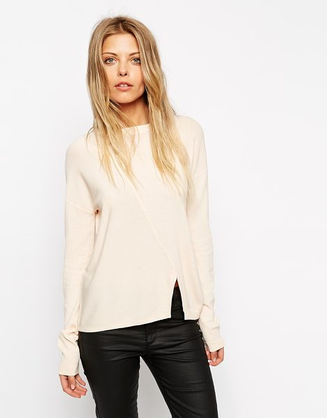 Asos sweater in structured knit with seam detail in nude