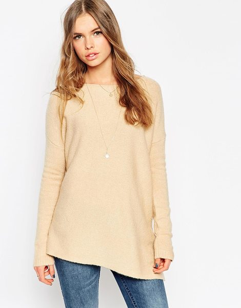 Asos Sweater With Asymmetric Hem in beige - Sweater by ASOS Collection, Mid-weight fluffy knit,...