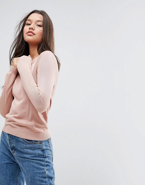 "Asos Sweater With Crew Neck And Panel Detail in pink - """"Sweater by ASOS Collection, Soft-touch knit, Crew..."