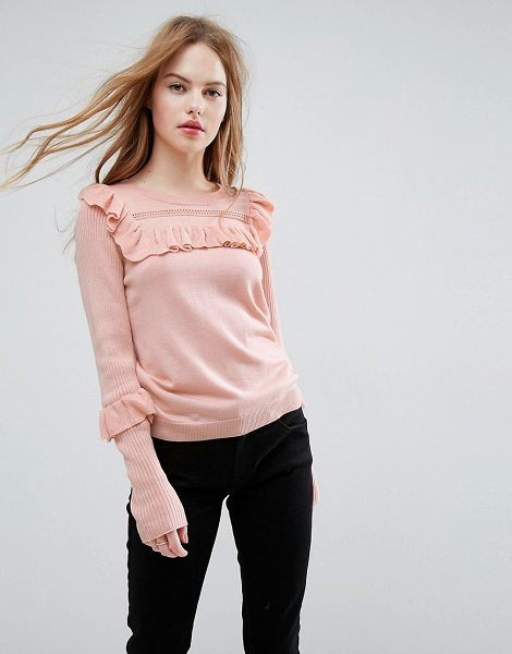 ASOS ASOS Sweater with Frill and Pointelle Detail in blush - Sweater by ASOS Collection, Pointelle knit, Crew neck,...