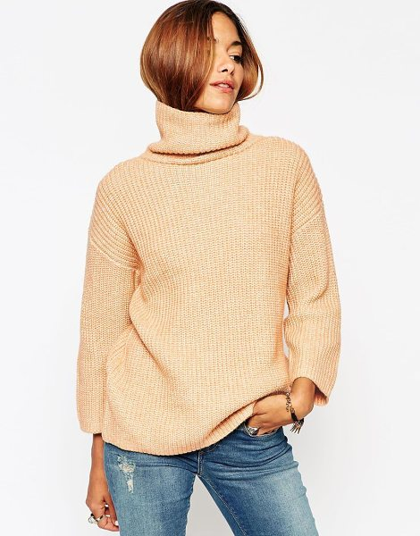Asos Sweater with funnel neck and wide sleeve in camel twist - Sweater by ASOS Collection Mid-weight knit Soft-touch...