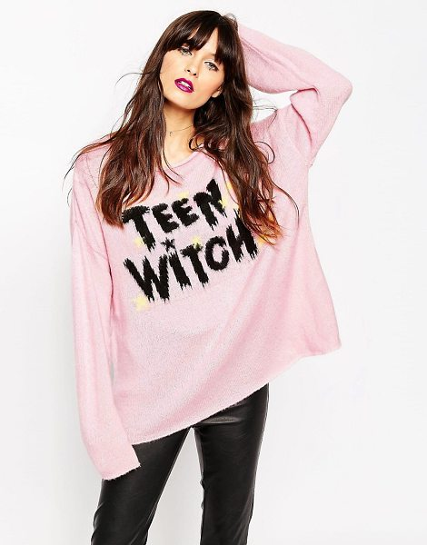 Asos Sweater with Halloween Teen Witch Slogan in pink - Sweater by ASOS Collection, Soft touch material, Scoop...