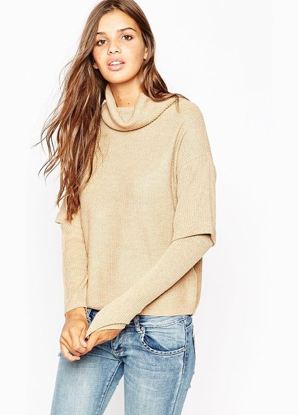 Asos Sweater with high neck and double layer in camel - Sweater by ASOS Collection, Knitted fabric, Double...