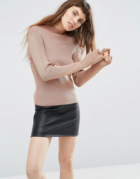 Asos Sweater with High Neck in Metallic in gold - Sweater by ASOS Collection, Ribbed knit, Metallic thread...