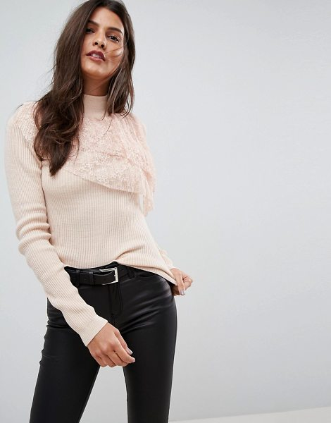 ASOS Sweater with Pleated Lace Ruffle in pink - Sweater by ASOS Collection, Ribbed knit, Double-layered...