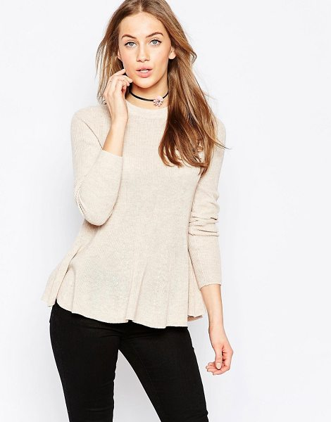 Asos Sweater with Ruffle Hem in pink - Sweater by ASOS Collection, Lightweight knit, Round...