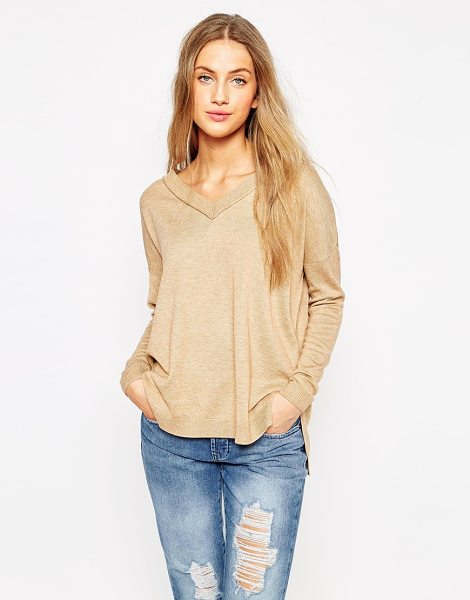Asos Sweater with v neck and side splits in camel - Sweater by ASOS Collection Lightweight wool-mix...