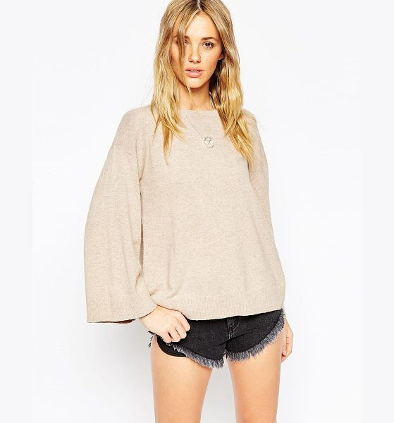 Asos Sweater with wide sleeve in cashmere mix in oatmeal - Sweater by ASOS Collection Lightweight, soft-touch knit...