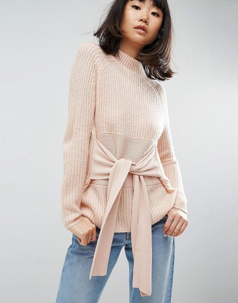 Asos Sweater with Wrap Corset Detail in pink - Sweater by ASOS Collection, Chunky knit, Crew neck, Wrap...