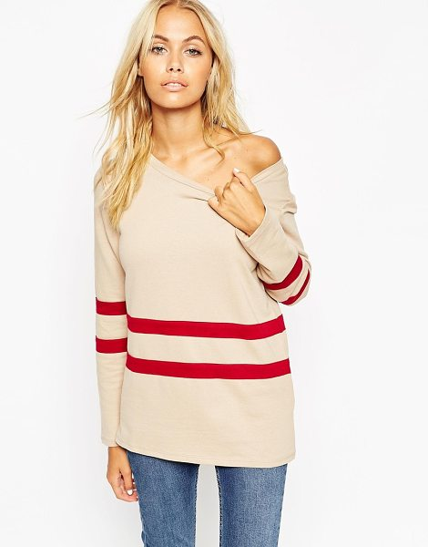 Asos Sweatshirt with off shoulder and placement stripe in creamred - Sweatshirt by ASOS Collection Loop-back sweat Wide boat...