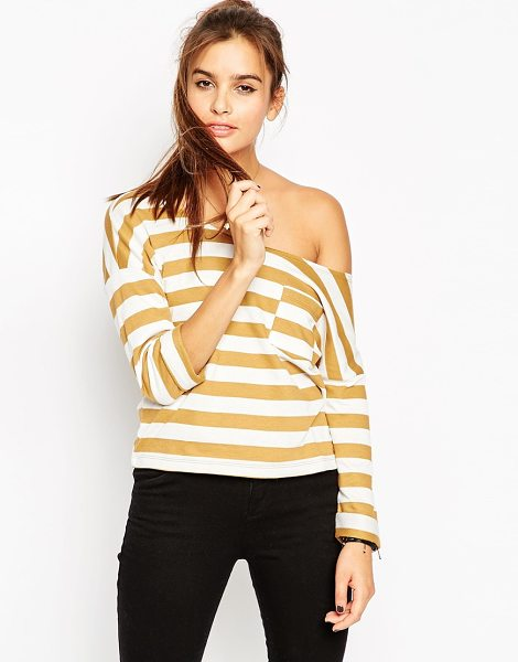 Asos Sweatshirt with off shoulder in stripe in coffeewhite - Sweatshirt by ASOS Collection Loop-back sweat Raw cut...