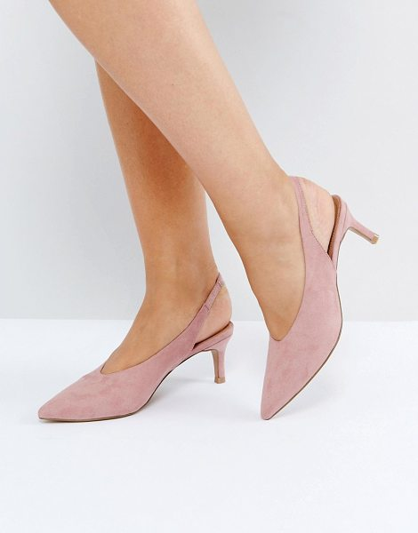 "Asos SWIFT Slingback Kitten Heels in pink - """"Heels by ASOS Collection, Faux-suede upper, Sling-back..."