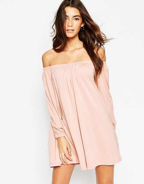 Asos Swing dress with off shoulder gypsy detail in lightrose - Dress by ASOS Collection Heavyweight stretch jersey...