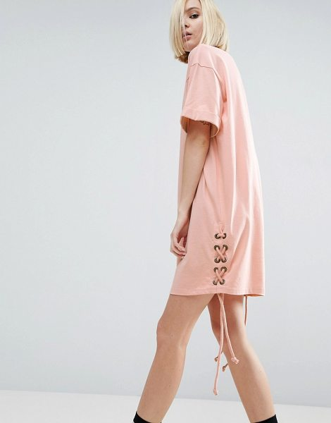"Asos T-Shirt Dress With Lace Up Sides in pink - """"Dress by ASOS Collection, Soft-touch cotton jersey,..."