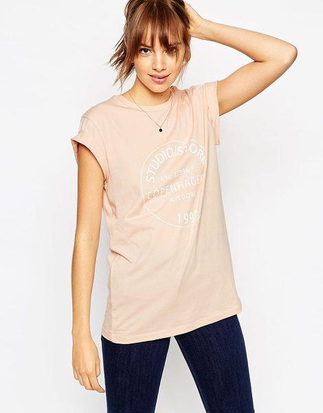 Asos T-shirt with copenhagen stamp print in nude - T-shirt by ASOS Collection Pure, breathable cotton...