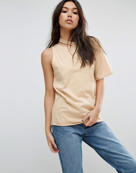 Asos T-Shirt with One Shoulder and Nibble Detail in tan - T-shirt by ASOS Collection, Pure-cotton jersey, Crew...