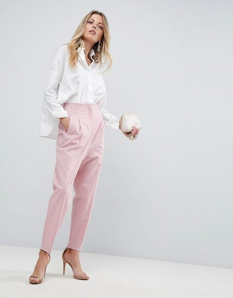 ASOS DESIGN tailored clean high waist linen peg pants in nude - Pants by ASOS Collection, Suitable for life in (or out...