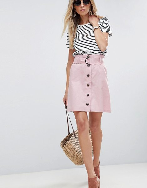 ASOS DESIGN tailored linen paperbag mini skirt in nude - Skirt by ASOS Collection, Some serious daytime...