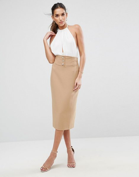 "ASOS Tailored Pencil Skirt With Corset and Button Detail - """"Pencil skirt by ASOS Collection, Stretch woven fabric,..."