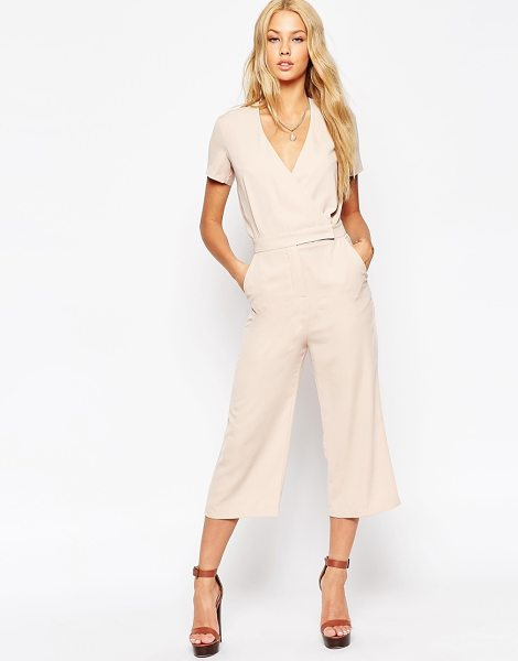 Asos tailored wrap jumpsuit with midi leg in natural - Jumpsuit by ASOS Collection, Lightweight woven fabric,...