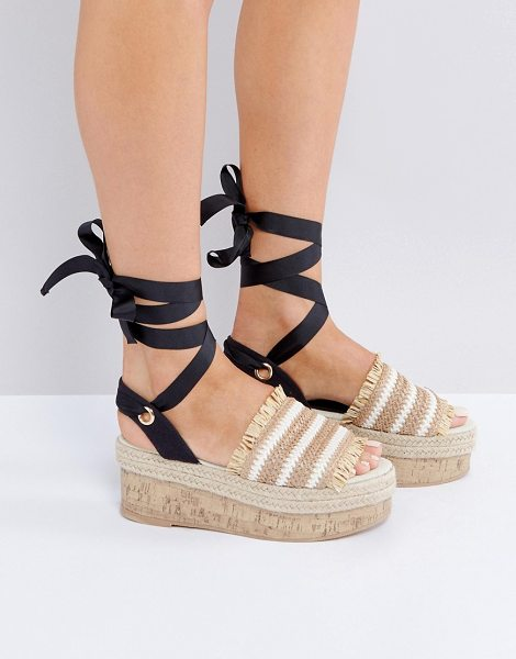 Asos TAKE A BREAK Flatform Sandals in beige - Platform shoes by ASOS Collection, Woven and canvas...