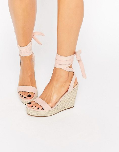 Asos TALENT Tie Leg Wedge Sandals in pink - Sandals by ASOS Collection, Leather-look upper,...