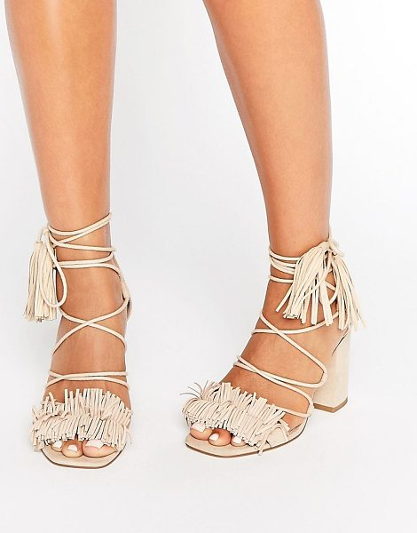 Asos TAMA Fringe Heeled Sandals in beige - Sandals by ASOS Collection, Textile upper, Ankle tie...