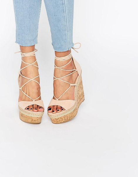 Asos TAMMI Lace Up Wedge Sandals in pink - Wedges by ASOS Collection, Textile upper, Open toe,...