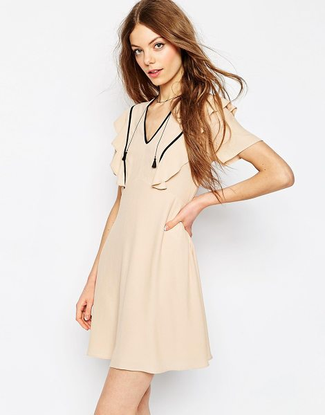 Asos Tea Dress With Ruffle Detail in pink - Dress by ASOS Collection, Lightweight woven fabric,...