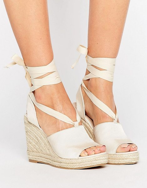 Asos TEAM PLAYER Tie Leg Wedges in beige - Wedges by ASOS Collection, Ribbed textile upper,...