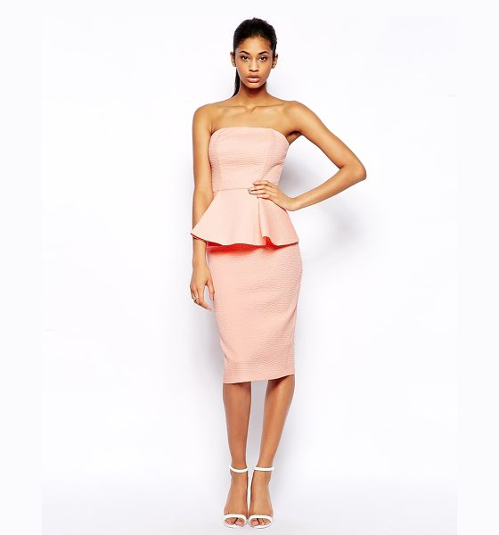 Asos Texture peplum bandeau midi in pink - Machine Wash According To Instructions On Care Label....