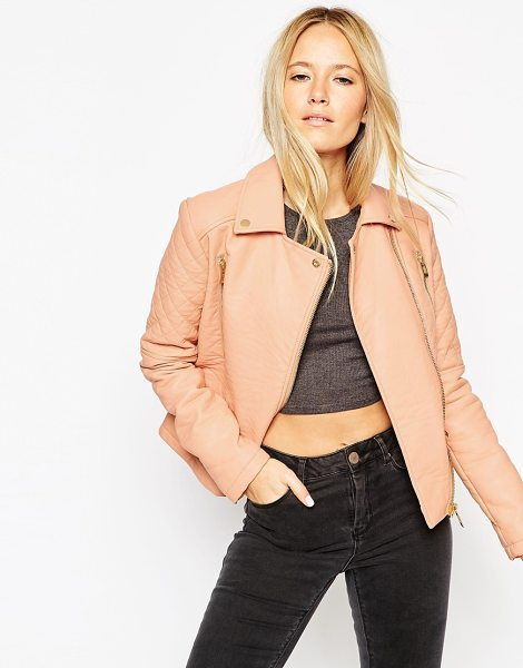 Asos Textured biker jacket with quilt detail in peach - Jacket by ASOS Collection Heavyweight, leather-look...