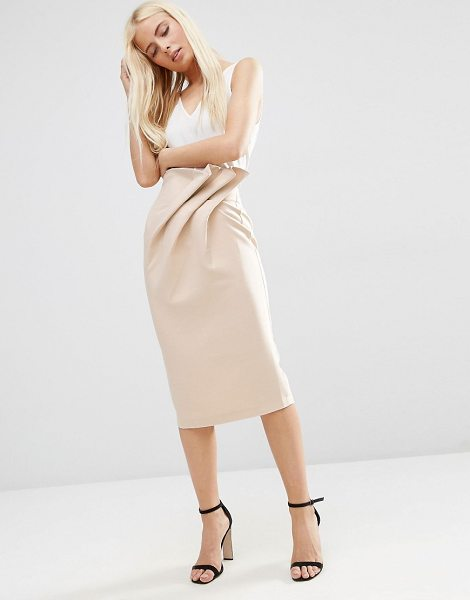 Asos Textured Pencil Skirt with Paperbag Waist in beige - Pencil skirt by ASOS Collection, Woven fabric, High-rise...