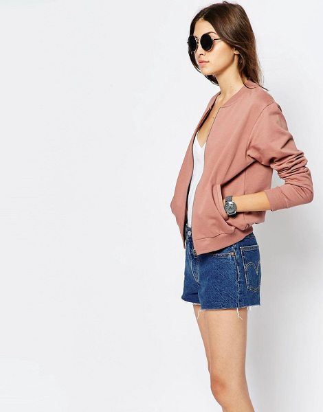 Asos The Bomber Jacket in beige - Jacket by ASOS Collection, Fleece-back jersey, Ribbed...