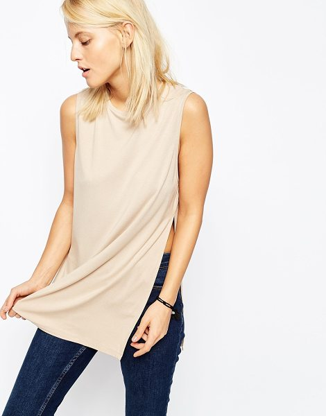 ASOS The Sleeveless Longline Top With Side Split - Top by ASOS Collection, Soft jersey knit, High neckline,...
