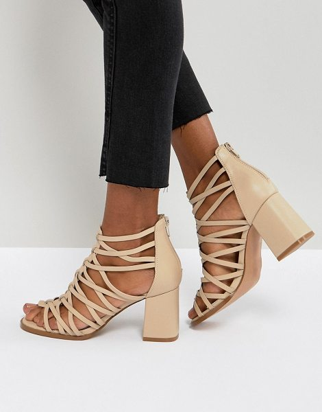 Asos THISTLE Block Heeled Sandals in nude - Sandals by ASOS Collection, Open toe, Strappy design,...