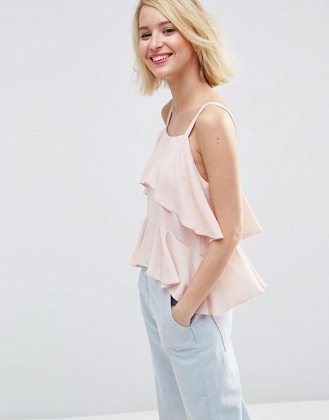 Asos Tiered cami in pink - Top by ASOS Collection, Semi-sheer chiffon, Scoop...
