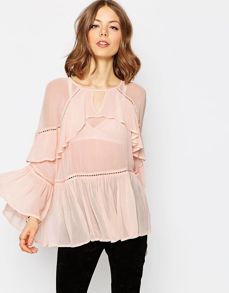 Asos Tiered Ruffle Blouse in pink - Blouse by ASOS Collection, Semi-sheer woven fabric, High...
