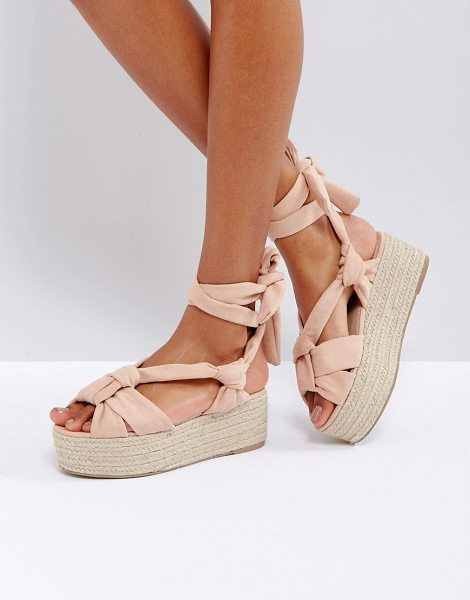 "ASOS TIPSY Tie Leg Knotted Espadrille Flatforms - """"Espadrilles by ASOS Collection, Faux-suede upper,..."