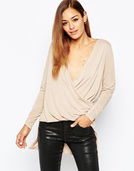 ASOS Top in Cupro with Wrap Front and Drop Back Hem - Top by ASOS Collection, Soft-touch jersey, Plunge...
