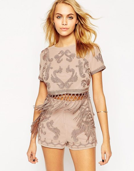Asos Top with cording and fringing detail co-ord in dusty pink - Top by ASOS Collection Soft touch jersey Crew neckline...