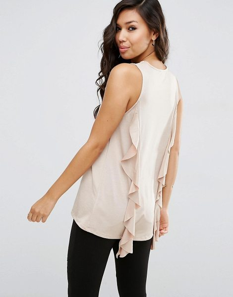 ASOS DESIGN asos top with dip back and ruffle detail in stone - Top by ASOS Collection, Soft knitted fabric, Crew...