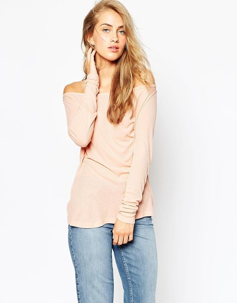 Asos Top with off shoulder detail in slouchy fabric in nude - T-shirt by ASOS Collection Lightly ribbed cotton Off the...