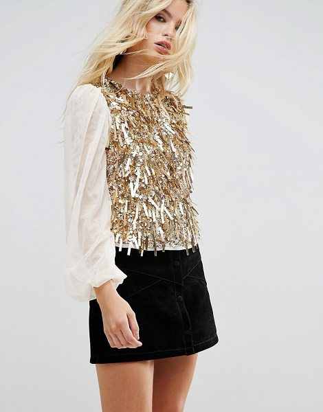 "ASOS Top with Pretty Embellishment & Balloon Sleeve in go1gold1 - """"Top by ASOS Collection, Midweight embellished mesh,..."
